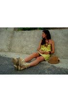 eggshell Red Box boots - yellow H&M dress