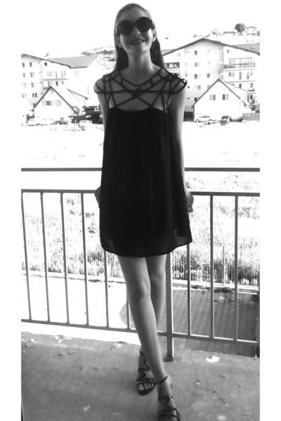 black Sheinside dress - black Catwalk sandals