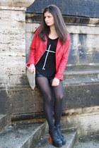 red Bata jacket - black Jeffrey Campbell shoes - tan American Apparel bag