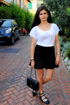black Chanel bag - white Zara t-shirt - black Zara skirt