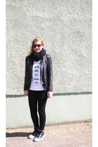 Topshop jacket - Converse shoes - Ray Ban sunglasses - Topshop Tee&Cake t-shirt