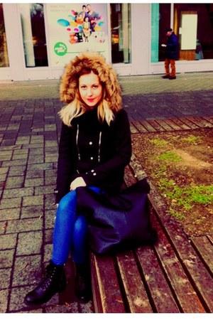 Bershka coat - H&M boots - Bershka bag