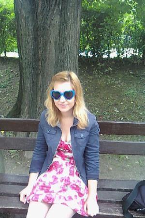 new look dress - Mirror Fahion jacket - blue heart glasses
