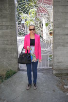 pink Zara blazer - leopard print Tally Weijl shoes - chain print Motel dress