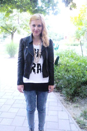 acid wash jeans Denim & Co jeans - leather jacket Topshop jacket - Topshop neckl