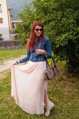 light pink long skirt Zara skirt - blue denim shirt calvin klein shirt