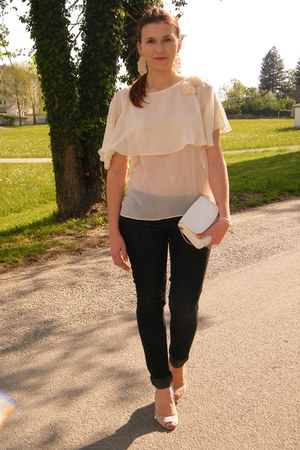 white tulle Forever 21 top - black Stradivarius jeans - beige Guess heels
