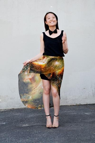 H&M tie - romwe skirt - H&M top