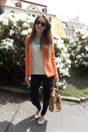 light orange romwe blazer - white mint c&a shirt - black Ebay sunglasses