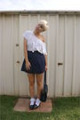 White-shirt-white-socks-blue-skirt-blue-shoes