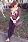 Brown-leather-pieces-bag-black-stradivarius-pants-stradivarius-blouse