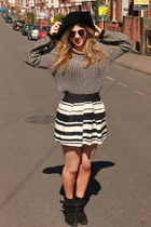 white asos skirt - black vintage hat - black Ebay sunglasses - white Ebay jumper