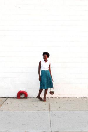 vintage skirt - necessary clothing shirt - JCrew wedges