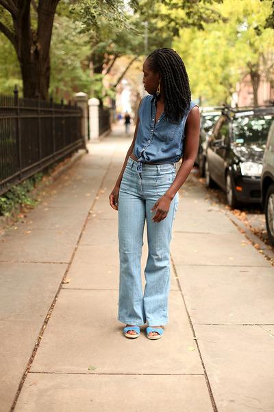 denim H&M jeans - denim Forever 21 blouse