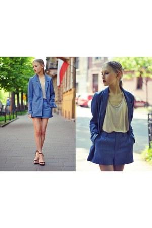 jeans H&M blazer - jeans H&M shorts - leather Zara heels