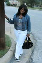 navy Gap jacket - black Gucci bag - heather gray Ebay t-shirt