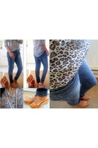 off white leopard print blouse - navy jeans - dark brown cognac bag
