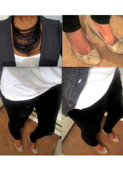 wedges - jeans - button down cardigan - t-shirt