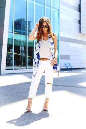 white ripped Joe Fresh jeans - blue tie dye Joe Fresh scarf