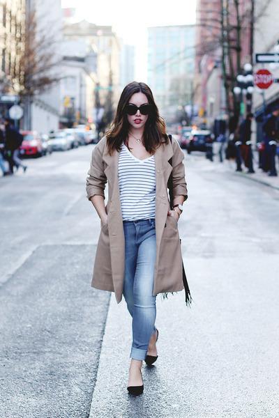 tan wool Express coat - heather gray leggings Express jeans