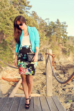 black H&M skirt - aquamarine H&M blazer - white H&M shirt - black BCBG bag