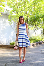 blue striped 424 Fifth dress - brown cross body Rebecca Minkoff bag