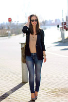 neutral silk wilfred blouse - light blue skinnies Gap jeans