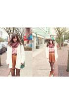 tawny H&M heels - cream H&M sweater - amethyst TNA scarf
