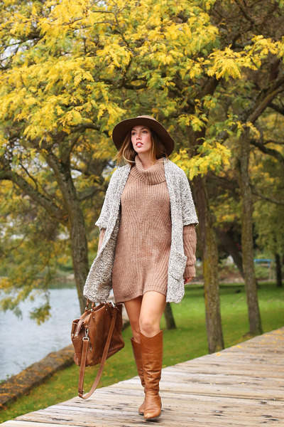 brown riding Sole Society boots - light brown sweater Left on Houston dress