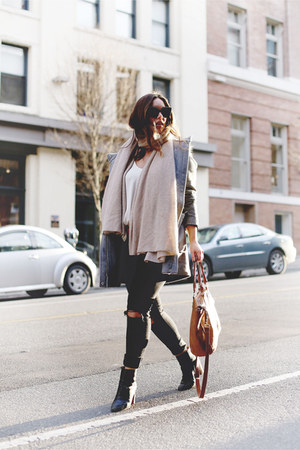 heather gray toggle Express coat - black skinny jeans Mavi jeans