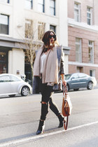 heather gray toggle Express coat - black skinny jeans Mavi jeans