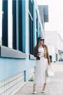 Brown-suede-revolve-jacket-white-silk-aritzia-skirt