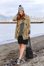 black striped Joe Fresh shirt - olive green utility Gentle Fawn coat