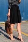 Black-striped-h-m-shirt-brown-leather-bag-roots-bag