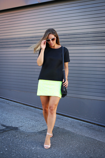 chartreuse neon JCrew skirt - black mesh 424 Fifth shirt