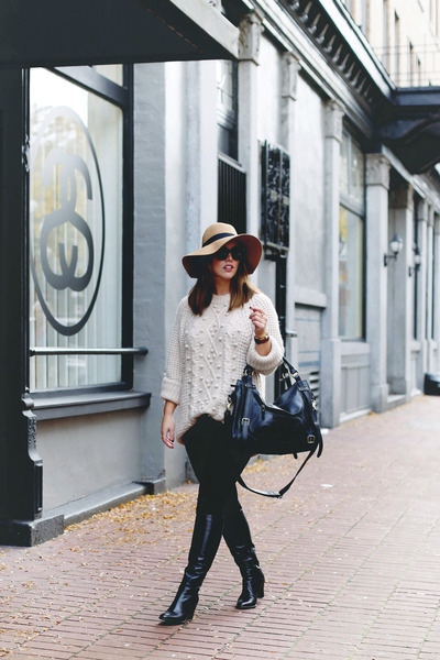 black skinny jeans James Jeans jeans - eggshell knit Aritzia sweater