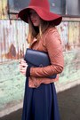 Brick-red-floppy-hat-h-m-hat-brown-leather-jacket-forever-21-jacket