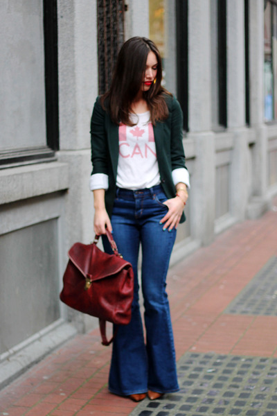 navy flare Old Navy jeans - dark green boyfriend Club Monaco blazer