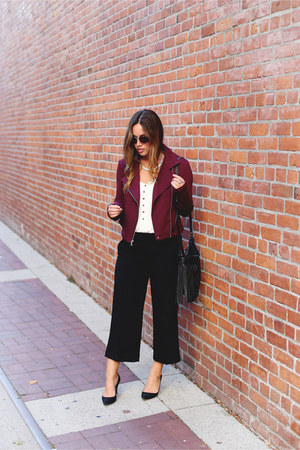 crimson motorcycle Express jacket - black culottes Express pants