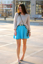 teal leather Rebecca Minkoff bag - sky blue Foster Bay dress