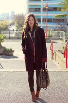 maroon cashmere Aritzia coat - dark brown skinnies coated James Jeans jeans