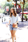 Light-blue-chambray-old-navy-shirt-sky-blue-denim-shorts-gap-shorts