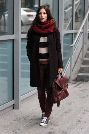 crimson wool Aritzia coat - maroon Raven Denim jeans - beige striped H&M sweater