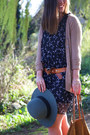 Gray-floral-print-club-monaco-dress-teal-fedora-brixton-hat