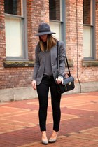 gray fedora French Connection hat - black skinny jeans Forever 21 jeans