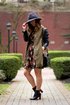 black floral Boutique Onze dress - army green military H&M coat