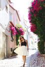 Black-silk-joe-fresh-top-white-pleated-obakki-skirt