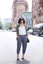 white tank top Express top - olive green utility Gentle Fawn jacket