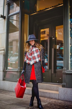 red feminine H&M dress - gray wool H&M coat - gray wool French Connection hat