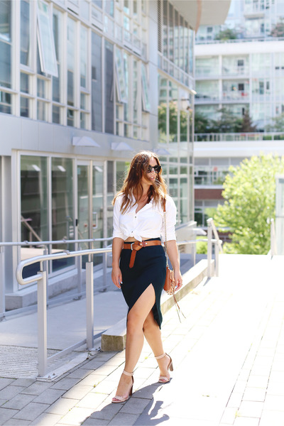 dark green pencil skirt Gentle Fawn skirt - white oxford Peau de Loup shirt